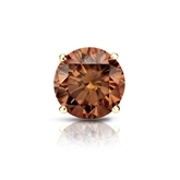 Certified 18k Yellow Gold 4-Prong Basket Round Brown Diamond Single Stud Earring 1.50 ct. tw. (Brown, SI1-SI2)