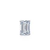 Certified 18k White Gold 4-Prong Basket Emerald Cut Diamond Single Stud Earring 0.25 ct. tw. (I-J, I1-I2)
