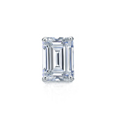 Certified 14k White Gold 4-Prong Basket Emerald Cut Diamond Single Stud Earring 0.50 ct. tw. (H-I, SI1-SI2)