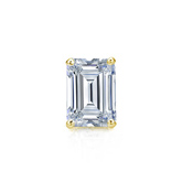 Certified 18k Yellow Gold 4-Prong Basket Emerald Cut Diamond Single Stud Earring 0.50 ct. tw. (I-J, I1-I2)