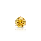 Certified 14k Rose Gold 3-Prong Martini Round Yellow Diamond Single Stud Earring 0.25 ct. tw. (Yellow, SI1-SI2)
