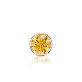 Certified 14k Rose Gold Bezel Round Yellow Diamond Single Stud Earring 0.25 ct. tw. (Yellow, SI1-SI2)