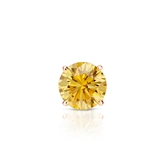 Certified 14k Rose Gold 4-Prong Basket Round Yellow Diamond Single Stud Earring 0.38 ct. tw. (Yellow, SI1-SI2)