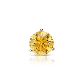 Certified 14k Rose Gold 3-Prong Martini Round Yellow Diamond Single Stud Earring 0.38 ct. tw. (Yellow, SI1-SI2)