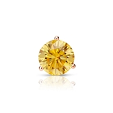Certified 14k Rose Gold 3-Prong Martini Round Yellow Diamond Single Stud Earring 0.50 ct. tw. (Yellow, SI1-SI2)