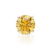 Certified 14k Rose Gold 4-Prong Basket Round Yellow Diamond Single Stud Earring 0.75 ct. tw. (Yellow, SI1-SI2)