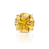 Certified 14k Rose Gold 4-Prong Basket Round Yellow Diamond Single Stud Earring 1.00 ct. tw. (Yellow, SI1-SI2)
