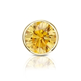 Certified 18k Yellow Gold Bezel Round Yellow Diamond Single Stud Earring 1.25 ct. tw. (Yellow, SI1-SI2)