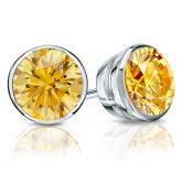 Certified Platinum Bezel Round Yellow Diamond Stud Earrings 2.50 ct. tw. (Yellow, SI1-SI2)