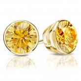 Certified 14k Yellow Gold Bezel Round Yellow Diamond Stud Earrings 2.50 ct. tw. (Yellow, SI1-SI2)